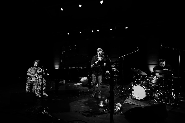 Angel Bat Dawid & Jeb Bishop & Frank Rosaly by Laurent Orseau - Summer Bummer Festival - De Studio - Antwerp, Belgium #1