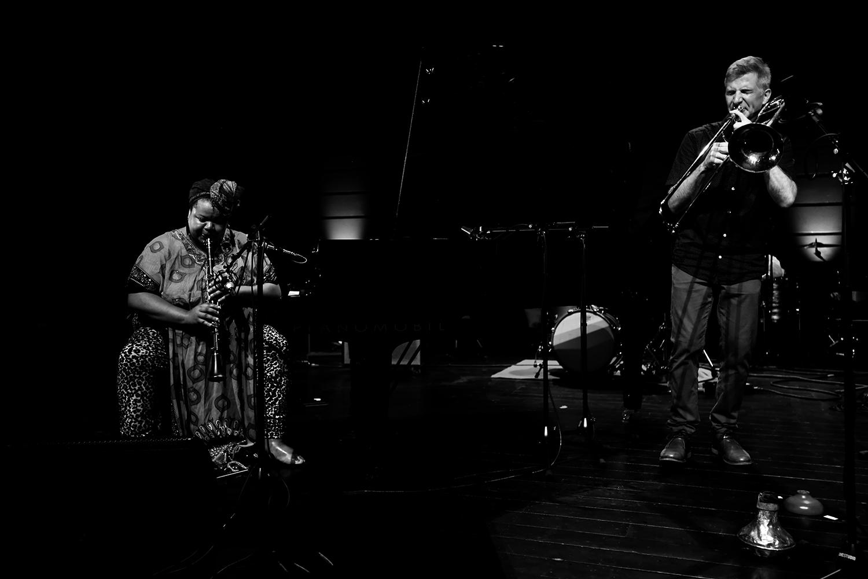 Angel Bat Dawid & Jeb Bishop & Frank Rosaly by Laurent Orseau - Summer Bummer Festival - De Studio - Antwerp, Belgium #2