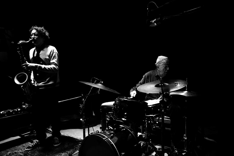 Han Bennink Trio (with Joachim Badenhorst & Simon Toldam) by Laurent Orseau - Les Ateliers Claus - Brussels, Belgium #4
