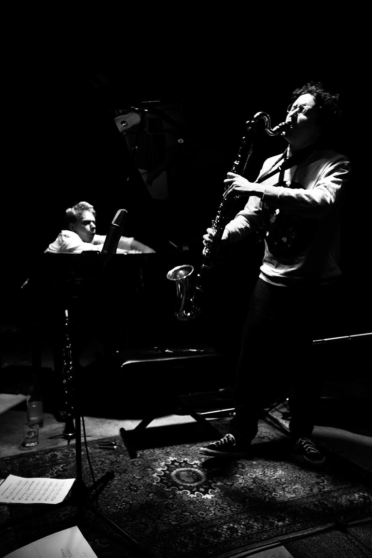 Han Bennink Trio (with Joachim Badenhorst & Simon Toldam) by Laurent Orseau - Les Ateliers Claus - Brussels, Belgium #6