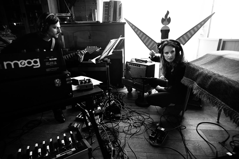Nel Ponsaers with Frederic Lyenn Jacques & Frederik Meulyzer by Laurent Orseau - Recording - The Rabbit Field - Antwerp, Belgium #17