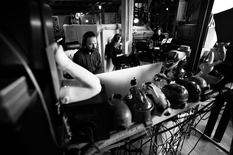 Nel Ponsaers with Frederic Lyenn Jacques & Frederik Meulyzer by Laurent Orseau - Recording - The Rabbit Field - Antwerp, Belgium #5