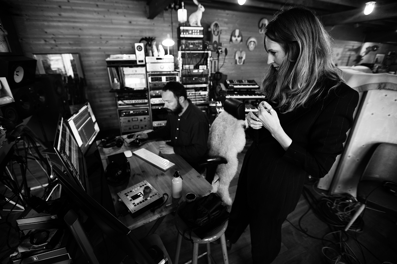 Nel Ponsaers with Frederic Lyenn Jacques & Frederik Meulyzer by Laurent Orseau - Recording - The Rabbit Field - Antwerp, Belgium #6