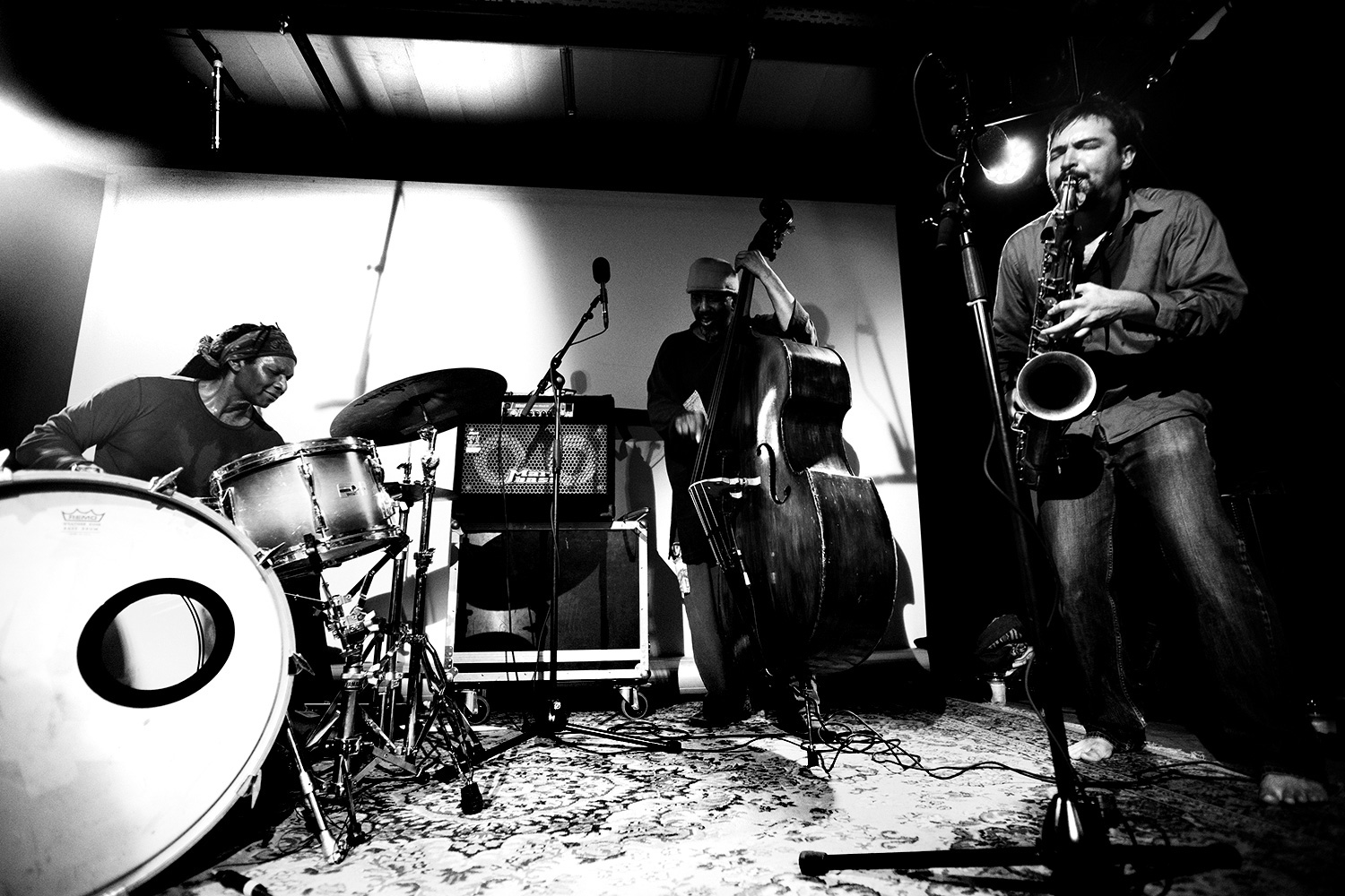 William Parker & Hamid Drake & John Dikeman by Laurent Orseau - Les Ateliers Claus - Brussels, Belgium #1